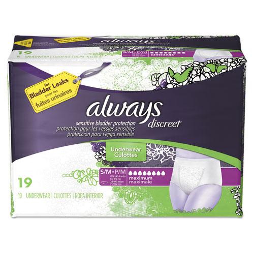 Discreet Incontinence Underwear, Small/Medium, Maximum Absorbency, 19/Pack, 3 Packs/Carton