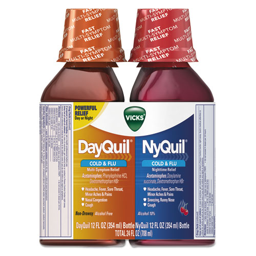 DayQuil/NyQuil Cold  Flu Liquid Combo Pack, 12 oz Day, 12 oz Night, 6/Carton
