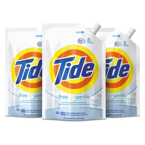 Tide® Free & Gentle Laundry Detergent, 48 oz Pouch, 3/Carton