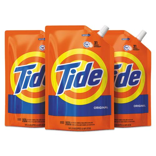 Tide® Liquid Laundry Detergent, Original Scent, 48 oz Pouch, 3/Carton