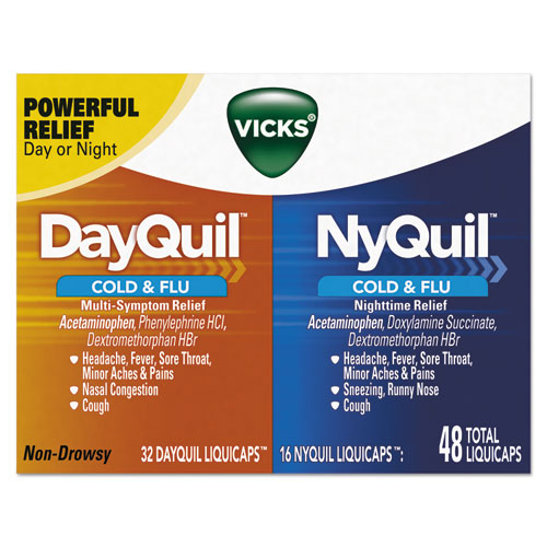 DayQuil/NyQuil Cold and Flu LiquiCaps Combo Pack, 32 Day/16 Night, 12/Carton