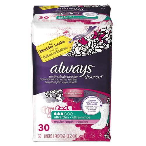 Always® Discreet Sensitive Bladder Protection Liners, Ultra Thin, 30/Pack, 3 Pk/Carton