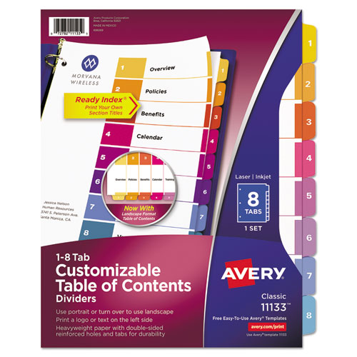 Superwarehouse ready index customizable table of for Avery table of contents template 10 tab
