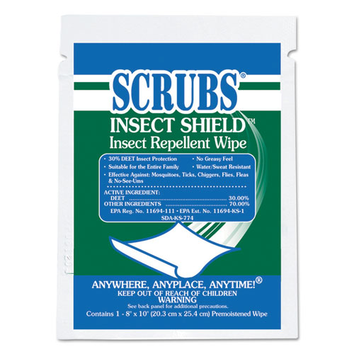 SCRUBS® Insect Shield Insect Repellent Wipes, 8 x 10, White, 100/Carton