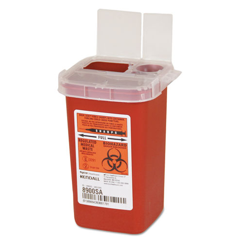 Sharps Containers, Polypropylene, 1/4 gal, 3 1/2 x 4 1/4 x 5 1/2, Red