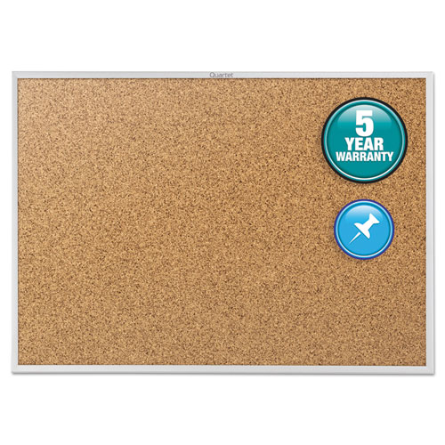 Classic Series Cork Bulletin Board, 72 x 48, Silver Aluminum Frame | by Plexsupply