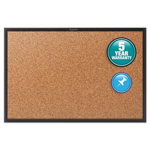 Classic Series Cork Bulletin Board, 24x18, Black Aluminum Frame   by Plexsupply