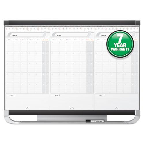 Prestige 2 Total Erase 3-Month Calendar Board, 36 x 24, White, Graphite Frame | by Plexsupply