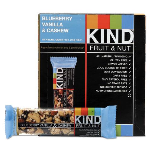 KIND Fruit and Nut Bars, Blueberry Vanilla and Cashew, 1.4 oz Bar, 12/Box