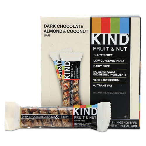 Fruit and Nut Bars, Dark Chocolate Almond and Coconut, 1.4 oz Bar, 12/Box