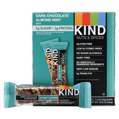 Nuts and Spices Bar, Dark Chocolate Almond Mint, 1.4 oz Bar, 12/Box