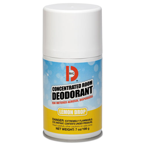Big D Industries Metered Concentrated Room Deodorant, Lemon Scent, 7 oz Aerosol, 12/Carton