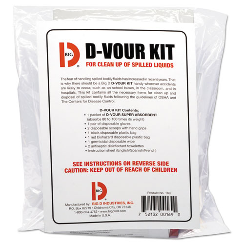 Big D Industries D'vour Clean-up Kit, Powder, All Inclusive Kit, 6/Carton