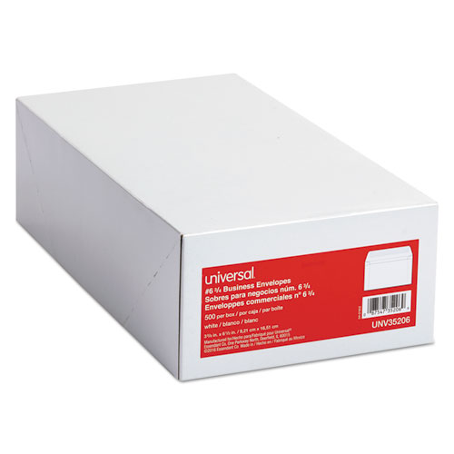 Business Envelope, #6 3/4, Square Flap, Gummed Closure, 3.63 x 6.5, White, 500/Box