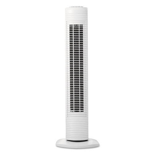 Oscillating Tower Fan, Three-Speed, White, 5 9/10W x 31H