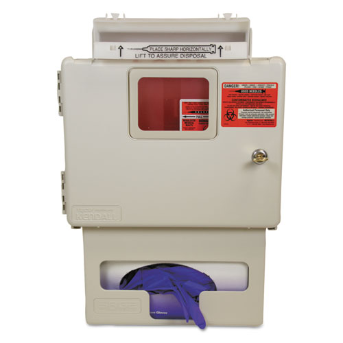 Locking Wall Mount Sharps Cabinet with Glove Box Holder, 5 qt, Beige