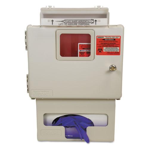 Locking Wall Mount Sharps Cabinet w/Glove Box Holder, 5 qt, 13 x 5 x 18.5, Beige