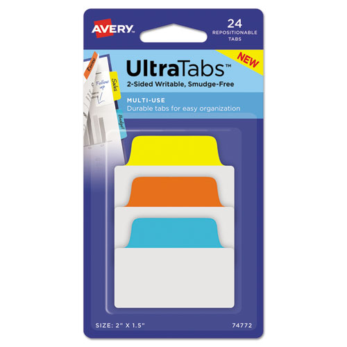 """Ultra Tabs Repositionable Standard Tabs, 1/5-Cut Tabs, Assorted Primary Colors, 2"""" Wide, 24/Pack"""