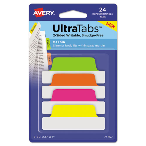 Ultra Tabs Repositionable Margin Tabs, 1/5-Cut Tabs, Assorted Neon, 2.5 Wide, 24/Pack