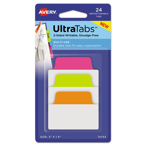 Ultra Tabs Repositionable Standard Tabs, 1/5-Cut Tabs, Assorted Neon, 2 Wide, 24/Pack
