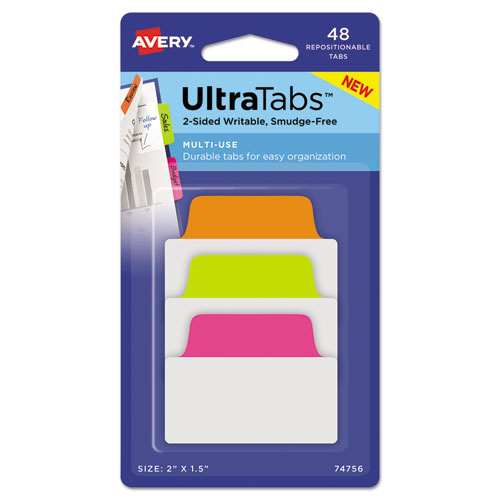 Ultra Tabs Repositionable Standard Tabs, 1/5-Cut Tabs, Assorted Neon, 2 Wide, 48/Pack