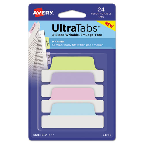 Ultra Tabs Repositionable Margin Tabs, 1/5-Cut Tabs, Assorted Pastels, 2.5 Wide, 24/Pack