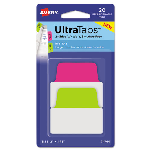 Ultra Tabs Repositionable Big Tabs, 1/5-Cut Tabs, Assorted Neon, 2 Wide, 20/Pack