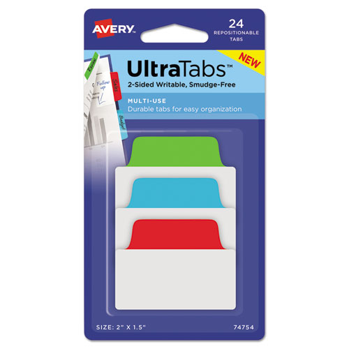 Ultra Tabs Repositionable Standard Tabs, 1/5-Cut Tabs, Assorted Primary Colors, 2 Wide, 24/Pack