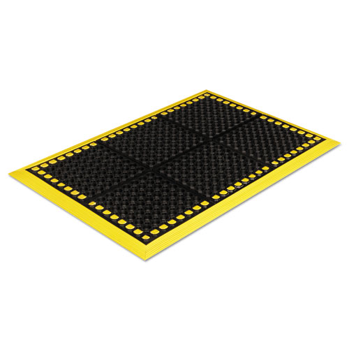 Safewalk Workstations Anti-Fatigue Drainage Mat, 28 x 40, Black/Yellow