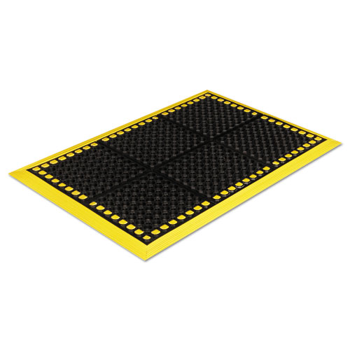 Safewalk Workstations Anti-Fatigue Drainage Mat, 40 x 64, Black/Yellow