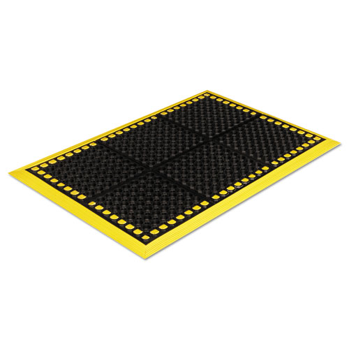 Safewalk Workstations Anti-Fatigue Drainage Mat, 40 x 124, Black/Yellow