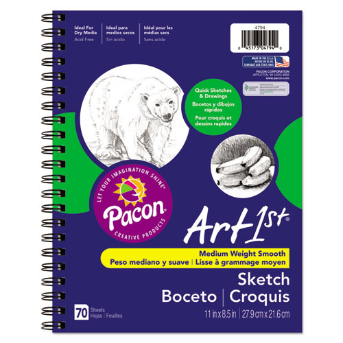 Art1st Sketch Diary, 60 lb, 11 x 8.5, White, 70 Sheets | by Plexsupply