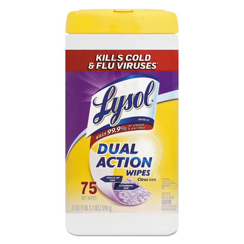 LYSOL® Brand Dual Action Disinfecting Wipes, Citrus, 7 x 8, 75/Canister, 6/Carton