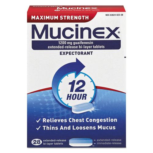 Mucinex® Maximum Strength Expectorant, 28 Tablets/Box, 24 Boxes/Carton