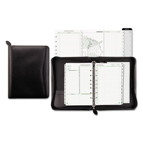 Recycled Bonded Leather Starter Set, 8 1/2 x 5 1/2, Black Cover | by Plexsupply