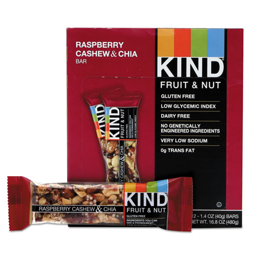 Fruit and Nut Bars, Raspberry Cashew and Chia, 1.4 oz Bar, 12/Box