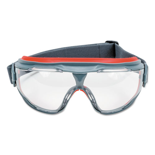 GoggleGear 500Series Safety Goggles, AntiFog, Red/Black Frame, Clear Lens,10/Ctn