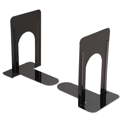 Economy Bookends, Nonskid, 5 7/8 x 8 1/4 x 9, Heavy Gauge Steel, Black | by Plexsupply