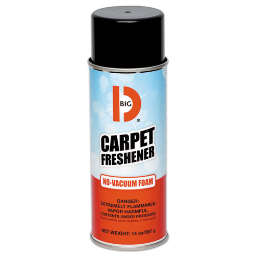 Big D Industries No-Vacuum Carpet Freshener, Foam, Fresh Scent, 14 oz Aerosol, 12/Carton