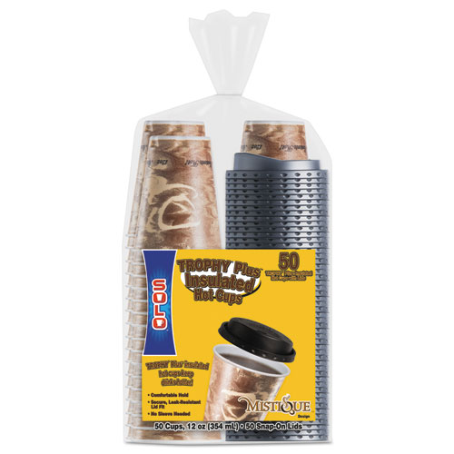 Bistro Hot/Cold Foam Cups with Lids, 12oz, Maroon, 300-Cup & Lids/Carton FSX120029