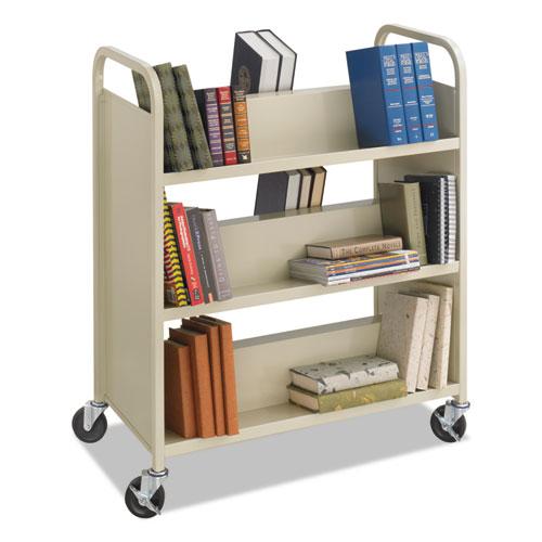 Steel Book Cart, Six-Shelf, 36w x 18.5d x 43.5h, Sand | by Plexsupply