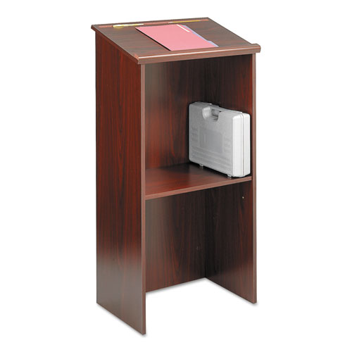 Stand-Up Lectern, 23w x 15.75d x 46h, Mahogany | by Plexsupply