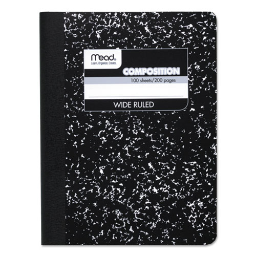 Mead® Composition Book, Wide/Legal Rule, Black Cover, 9.75 x 7.5, 100 Sheets