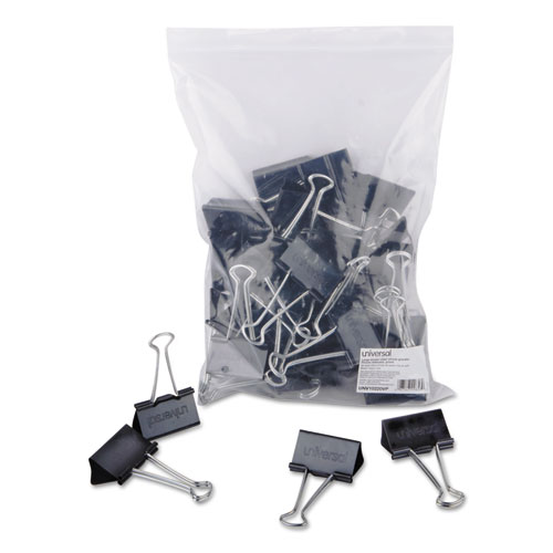 Binder Clips in Zip-Seal Bag, Large, Black/Silver, 36/Pack | by Plexsupply
