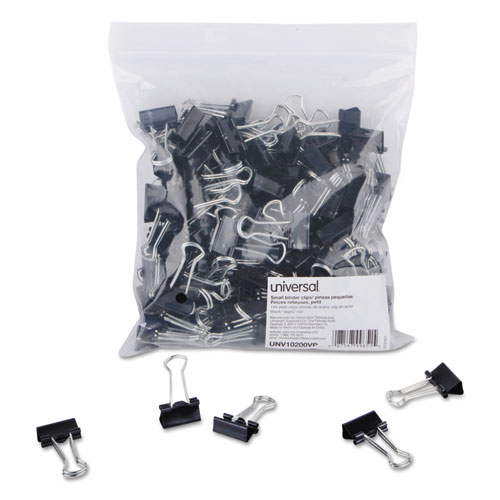 Binder Clips in Zip-Seal Bag, Small, Black/Silver, 144/Pack | by Plexsupply