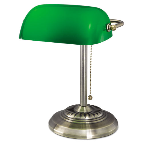 Traditional Bankers Lamp, Green Glass Shade, 10.5w x 11d x 13h, Antique Brass