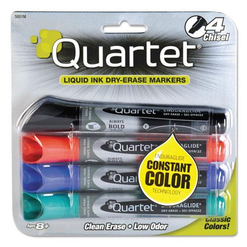 EnduraGlideDry Erase Marker, Broad Chisel Tip, Assorted Colors, 4/Set | by Plexsupply