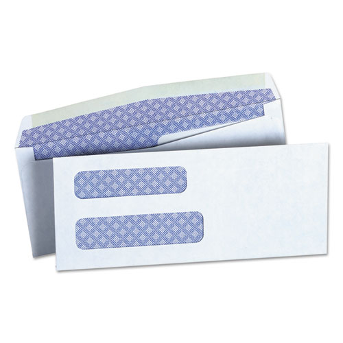 Double Window Business Envelope, #8 5/8, Square Flap, Gummed Closure, 3.63 x 8.63, White, 500/Box | by Plexsupply
