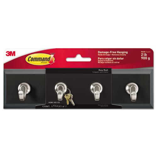 Decorative Key Rail, 8w x 1 1/2d x 2 1/8h, Black/Silver, 4 Hooks/Pack