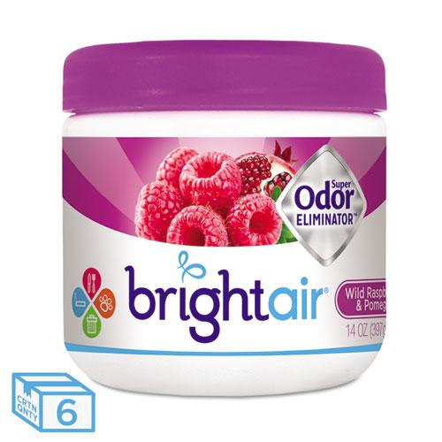 BRIGHT Air® Super Odor Eliminator, Wild Raspberry & Pomegranate, 14 oz Jar, 6/Carton